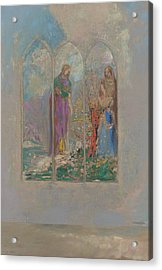 Devotion Near A Red Bush  Acrylic Print by Odilon Redon