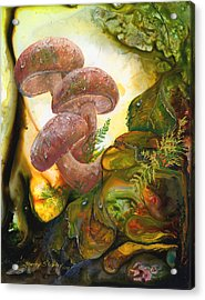 Acrylic Print featuring the painting Dew Drop Mushrooms by Sherry Shipley