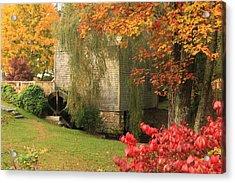 Dexter Grist Mill Autumn Cape Cod Acrylic Print by John Burk