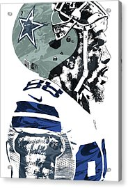 Dez Bryant Dallas Cowboys Pixel Art 4 Acrylic Print by Joe Hamilton
