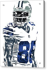 Dez Bryant Dallas Cowboys Pixel Art 5 Acrylic Print by Joe Hamilton