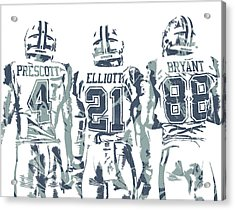 Dez Bryant Ezekiel Elliott Dak Prescott Dallas Cowboys Pixel Art Acrylic Print