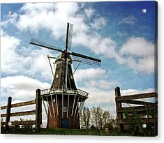 Acrylic Print featuring the photograph Dezwaan Windmill With Fence And Clouds by Michelle Calkins