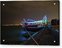 Dhow Boat Lights Up The Sky Acrylic Print