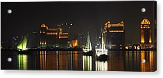 Dhows In West Bay Doha Acrylic Print by Paul Cowan
