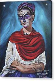 Dia De Los Muertos Frida Acrylic Print by Barbara  Rivera