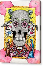 Acrylic Print featuring the painting Dia De Los Muertos by Josean Rivera