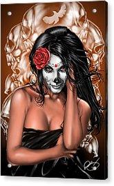Dia De Los Muertos Remix Acrylic Print by Pete Tapang