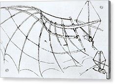 Diagram Of A Mechanical Wing Acrylic Print by Leonardo Da Vinci