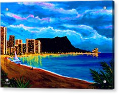 Diamond Head And Waikiki Beach By Night #92 Acrylic Print by Donald k Hall