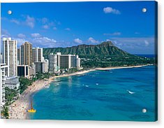 Diamond Head And Waikiki Acrylic Print