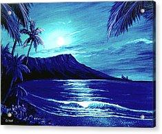 Diamond Head Moon #123 Acrylic Print by Donald k Hall