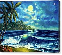 Diamond Head Moon Waikiki Beach #407 Acrylic Print by Donald k Hall