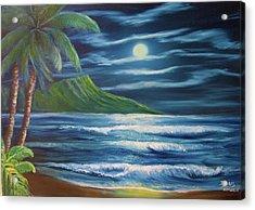 Diamond Head Moon Waikiki Beach  #409 Acrylic Print by Donald k Hall