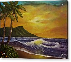 Diamond Head Sunrise Oahu #414 Acrylic Print by Donald k Hall