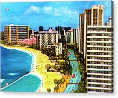 Diamond Head Waikiki Beach Kalakaua Avenue #94 Acrylic Print by Donald k Hall