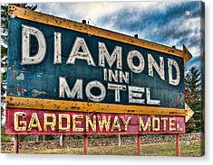Diamond Inn Motel Sign Acrylic Print by Robert  FERD Frank