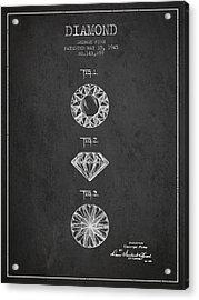 Diamond Patent From 1945 - Charcoal Acrylic Print