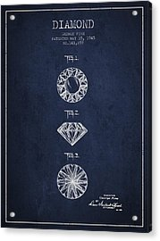 Diamond Patent From 1945 - Navy Blue Acrylic Print by Aged Pixel