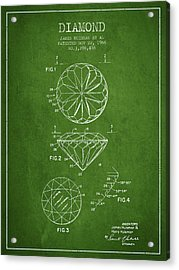Diamond Patent From 1966- Green Acrylic Print by Aged Pixel