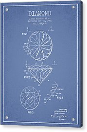 Diamond Patent From 1966- Light Blue Acrylic Print by Aged Pixel