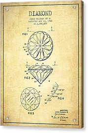 Diamond Patent From 1966- Vintage Acrylic Print by Aged Pixel