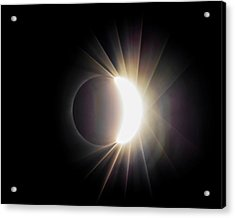 Acrylic Print featuring the photograph Diamond Ring With Flare During Solar Eclipse by Lori Coleman