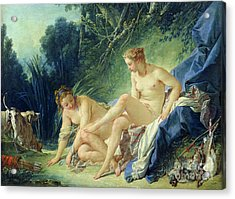 Diana Getting Out Of Her Bath Acrylic Print by Francois Boucher