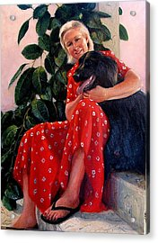 Acrylic Print featuring the painting Diane And Cinder by Donelli  DiMaria