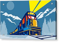 Diesel Train Winter Acrylic Print