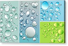 Different Size Droplets On Colored Surface Acrylic Print by Sandra Cunningham