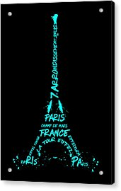 Digital-art Eiffel Tower Cyan Acrylic Print by Melanie Viola