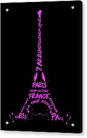 Digital-art Eiffel Tower Pink Acrylic Print by Melanie Viola