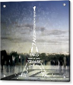 Digital-art Paris Eiffel Tower No.4 Acrylic Print by Melanie Viola