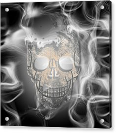 Digital-art Smoke And Skull Acrylic Print by Melanie Viola