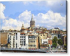 Digital Manipulation Of Galata Tower ,istanbul,turkey. Acrylic Print by Mohamed Elkhamisy