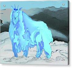 Acrylic Print featuring the digital art Digital Mountain Goat 2 by Kae Cheatham