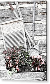Digital Sketch Wash Tub And Flowers Acrylic Print by Linda Phelps