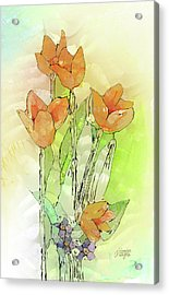 Digital Tulips Acrylic Print by Arline Wagner