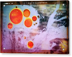 Acrylic Print featuring the photograph Digital Virus Orange One Bubbles by John Williams