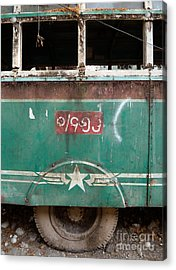 Dilapidated Vintage Green Bus In Burma - Side View With Tire Acrylic Print