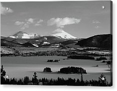 Acrylic Print featuring the photograph Dillon In Winter Bw by Marie Leslie