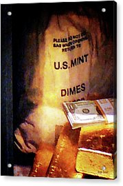 Dimes Dollars And Gold Acrylic Print