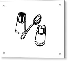 Diner Drawing Salt, Pepper, And Spoon Acrylic Print by Chad Glass