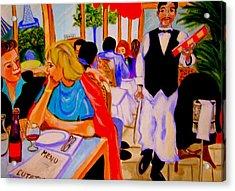 Diners At La Lutetia Acrylic Print by Rusty Woodward Gladdish
