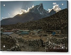 Acrylic Print featuring the photograph Dingboche Evening Sunrays by Mike Reid