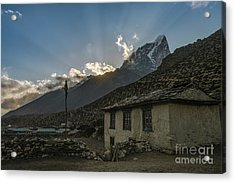Acrylic Print featuring the photograph Dingboche Nepal Sunrays by Mike Reid