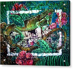 Dining At The Hibiscus Cafe - Iguana Acrylic Print by Sue Duda