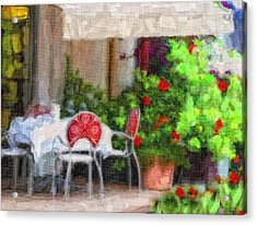 Dinner At The Cafe Acrylic Print by Gina Cormier