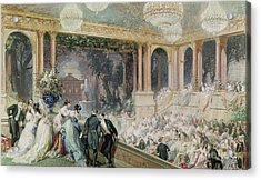 Dinner At The Tuileries Acrylic Print by Henri Baron